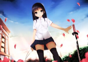 Rating: Safe Score: 55 Tags: burakyan seifuku sword thighhighs User: Radioactive