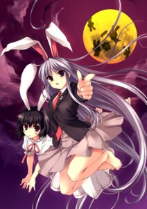Rating: Safe Score: 14 Tags: animal_ears bunny_ears dress feet inaba_tewi kanone-ya lolita_fashion reisen_udongein_inaba sato-pon seifuku touhou User: youliao