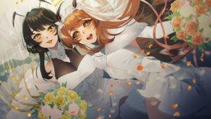 Rating: Safe Score: 10 Tags: dress mimiko_(fuji_310) skirt_lift wallpaper wedding_dress wings User: Mr_GT