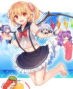 Rating: Safe Score: 62 Tags: akayan bikini chibi feet flandre_scarlet hong_meiling izayoi_sakuya maid patchouli_knowledge remilia_scarlet see_through seifuku swimsuits touhou wings User: Mr_GT