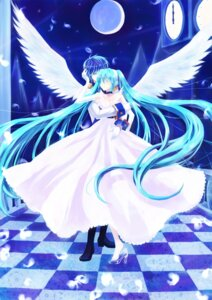 Rating: Safe Score: 9 Tags: dress hatsune_miku kaito sakururi vocaloid wings User: charunetra