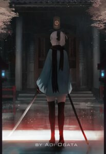 Rating: Safe Score: 7 Tags: aoi_ogata japanese_clothes sword thighhighs User: Xlrt