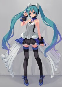 Rating: Safe Score: 42 Tags: 7th_dragon 7th_dragon_2020 hatsune_miku headphones no_bra see_through thighhighs zengxianxin User: charunetra