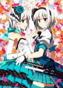 Rating: Safe Score: 46 Tags: dress konpaku_youmu sazanami_mio sword thighhighs touhou User: Mr_GT