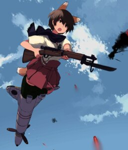 Rating: Safe Score: 10 Tags: animal_ears gun katou_keiko miko shibafu strike_witches tail User: Radioactive