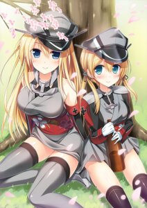 Rating: Safe Score: 49 Tags: bismarck_(kancolle) kantai_collection prinz_eugen_(kancolle) thighhighs yoru_kaze User: fairyren