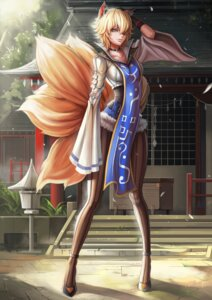 Rating: Questionable Score: 60 Tags: animal_ears dantewontdie kitsune pantyhose tail touhou yakumo_ran User: Enigma92