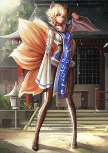 Rating: Questionable Score: 53 Tags: animal_ears dantewontdie kitsune pantyhose tail touhou yakumo_ran User: Enigma92