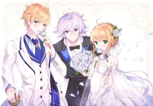 Rating: Safe Score: 15 Tags: cleavage dress ekh fate/grand_order merlin_(fate/stay_night) saber saber_(fate/prototype) saber_lily wedding_dress User: nphuongsun93