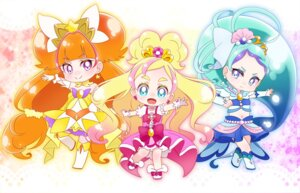 Rating: Safe Score: 5 Tags: amanogawa_kirara chibi dress go!_princess_pretty_cure haruno_haruka kaidou_minami pretty_cure thighhighs yupiteru User: cosmic+T5