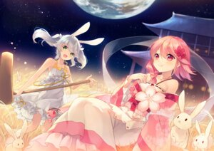 Rating: Safe Score: 75 Tags: animal_ears bunny_ears dress japanese_clothes sergestid_shrimp shinia User: Mr_GT