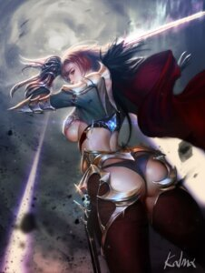 Rating: Questionable Score: 59 Tags: armor ass fiora league_of_legends lee_jung_hun pantsu signed sword thighhighs underboob User: mash