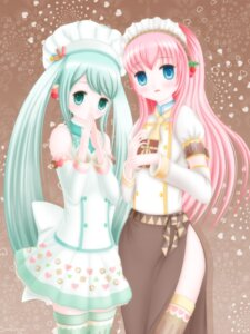 Rating: Safe Score: 4 Tags: endo_yuki hatsune_miku megurine_luka thighhighs vocaloid User: Radioactive
