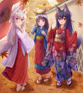Rating: Safe Score: 14 Tags: animal_ears iroha_(iroha_matsurika) japanese_clothes kimono kitsune miko tail umbrella User: Mr_GT