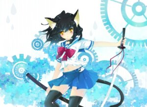 Rating: Safe Score: 44 Tags: animal_ears ichiyou_moka nekomimi seifuku sword tail thighhighs User: fairyren