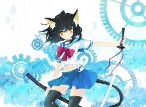 Rating: Safe Score: 44 Tags: animal_ears ichiyou_moka nekomimi seifuku sword tail thighhighs User: fairyren