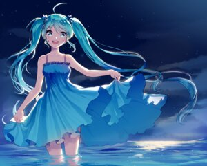Rating: Safe Score: 42 Tags: dress hatsune_miku mechuragi skirt_lift vocaloid wet User: Mr_GT