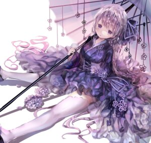 Rating: Safe Score: 39 Tags: iijima_masashi lolita_fashion thighhighs umbrella wa_lolita User: Mr_GT