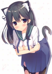 Rating: Questionable Score: 84 Tags: animal_ears breast_hold breasts kantai_collection megarisu nekomimi no_bra seifuku tail thighhighs torn_clothes ushio_(kancolle) User: blooregardo