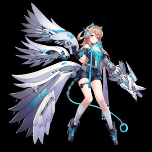 Rating: Safe Score: 31 Tags: animal_ears anthropomorphization armor boku_koyuki_mx cleavage garter headphones heels mecha_musume tail weapon wings User: sym455
