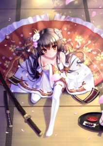 Rating: Questionable Score: 127 Tags: baise_fangjianta cleavage kimono sword thighhighs User: charunetra