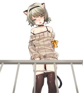 Rating: Questionable Score: 55 Tags: animal_ears closers kuronell lingerie male mistilteinn_(closers) nekomimi pantsu panty_pull pantyhose sweater tail User: nphuongsun93