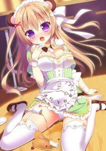 Rating: Questionable Score: 71 Tags: animal_ears cleavage dress maid moe2015 pantsu sakura_yuduna stockings thighhighs User: blooregardo
