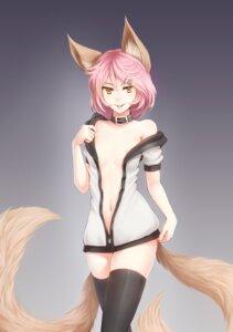 Rating: Questionable Score: 64 Tags: animal_ears kerasu nipples no_bra open_shirt tail thighhighs User: Radioactive