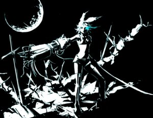 Rating: Safe Score: 5 Tags: black_rock_shooter gun kagamine_rin monochrome senbei vocaloid User: Radioactive
