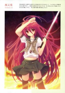 Rating: Safe Score: 20 Tags: nishimata_aoi seifuku shakugan_no_shana shana sword thighhighs User: Radioactive