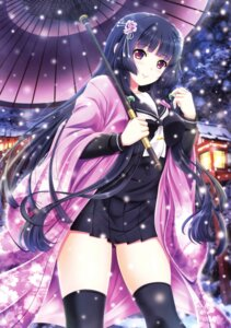 Rating: Safe Score: 70 Tags: akino_shin japanese_clothes seifuku thighhighs umbrella User: Twinsenzw