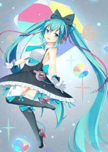 Rating: Safe Score: 51 Tags: hatsune_miku headphones heels jyt no_bra thighhighs vocaloid User: Humanpinka