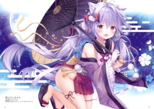 Rating: Questionable Score: 24 Tags: animal_ears ass garter japanese_clothes kinokomushi nekomimi nopan skirt_lift tail umbrella User: Arsy