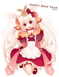 Rating: Safe Score: 35 Tags: animal_ears bunny_ears cleavage dress garter koto_(colorcube) User: fairyren