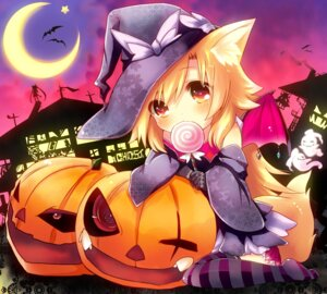 Rating: Safe Score: 26 Tags: animal_ears halloween kitsune naomi_(sekai_no_hate_no_kissaten) tail thighhighs User: 椎名深夏
