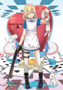 Rating: Safe Score: 58 Tags: alice alice_in_wonderland dress gun sody thighhighs User: fireattack