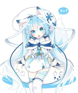 Rating: Safe Score: 84 Tags: animal_ears chuuko_anpu hatsune_miku tail thighhighs vocaloid yuki_miku User: Mr_GT