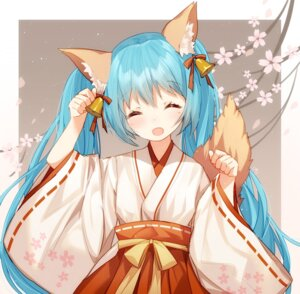 Rating: Safe Score: 69 Tags: animal_ears bison hatsune_miku kitsune miko tail vocaloid User: Mr_GT