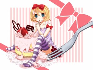 Rating: Safe Score: 16 Tags: cream kagamine_rin thighhighs vocaloid yayoi User: charunetra
