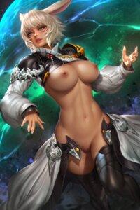 Rating: Explicit Score: 35 Tags: animal_ears armor breasts final_fantasy final_fantasy_xiv nipples no_bra nopan nudtawut_thongmai pussy thighhighs uncensored y'shtola User: Darkthought75
