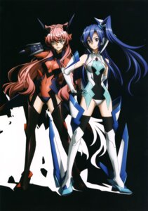 Rating: Safe Score: 32 Tags: bodysuit headphones kazanari_tsubasa maria_cadenzavuna_eve senki_zesshou_symphogear stockings thighhighs User: sjl19981006