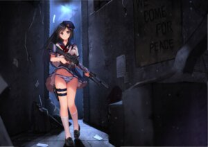 Rating: Questionable Score: 107 Tags: allenes gun jpeg_artifacts pantsu seifuku shimapan skirt_lift User: Aneroph