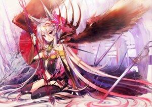 Rating: Safe Score: 55 Tags: akabane animal_ears nekomimi stockings sword thighhighs wings User: fairyren