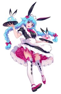 Rating: Questionable Score: 27 Tags: animal_ears bunny_ears heels maid see_through skirt_lift thighhighs waitress yin. User: sym455