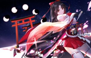 Rating: Questionable Score: 26 Tags: miko sijun skirt_lift sword tattoo thighhighs User: sym455