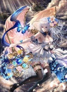 Rating: Safe Score: 34 Tags: cleavage dress fundeal garter heels nova_(fundeal) stockings tagme thighhighs weapon wings User: Mr_GT