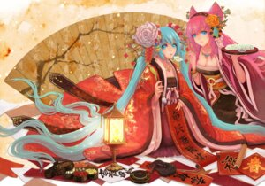 Rating: Safe Score: 26 Tags: chinadress cleavage hatsune_miku megurine_luka teddy_yang vocaloid User: Radioactive