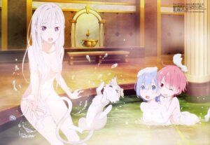 Rating: Safe Score: 287 Tags: bathing breast_grab cleavage emilia_(re_zero) naked neko pack_(re_zero) pointy_ears ram_(re_zero) re_zero_kara_hajimeru_isekai_seikatsu rem_(re_zero) wet yuri User: drop