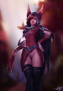 Rating: Explicit Score: 9 Tags: animal_ears armor bandages league_of_legends nopan personal_ami pubic_hair pussy uncensored xayah User: dick_dickinson