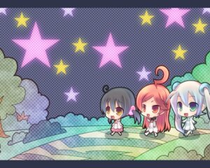 Rating: Safe Score: 20 Tags: chibi hatsune_miku kaai_yuki miki_(vocaloid) tahya vocaloid wallpaper User: Brufh